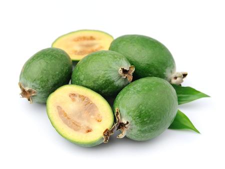 feijoa: Sweet feijoa fruits close up on white background .Tropical fruits Stock Photo
