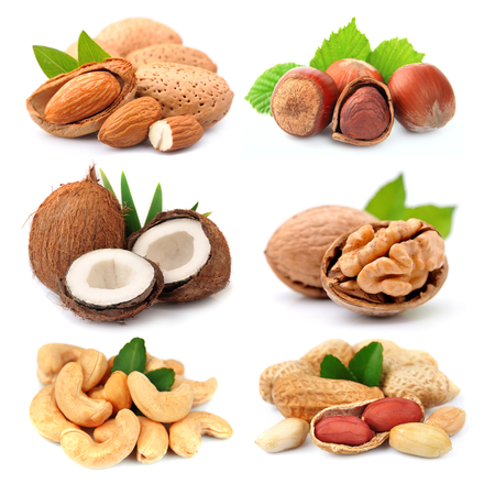 Collection of nuts on white background. Banco de Imagens