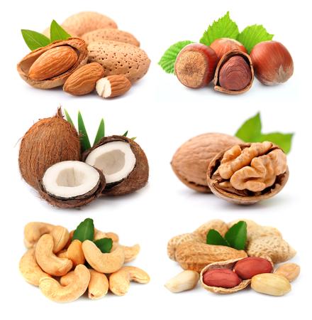 Het verzamelen van noten op een witte achtergrond. Stockfoto