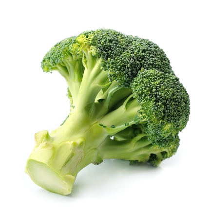 vegetables white background: Broccoli vegetables close up on white background.