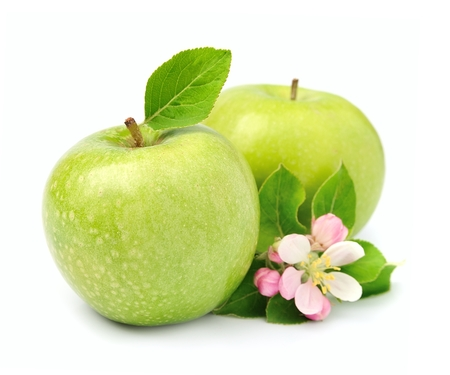 green apple: Ripe green apples fruit with leaves close up on white Stock Photo