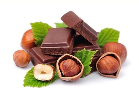 avellanas: De chocolate con avellanas primer Foto de archivo