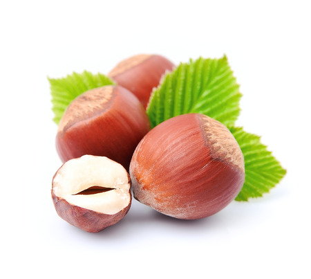 nuts: Filbert nuts with leaf on white background Stock Photo