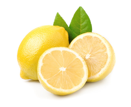 lemon: Lemon fruits with leaves on white
