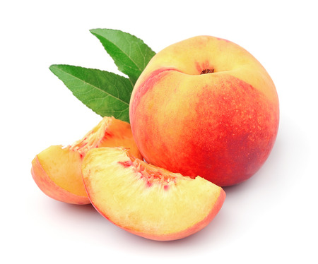 Ripe peach on a white background