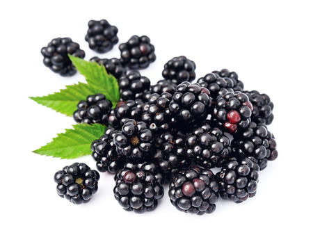mull: Blackberry fruit with leafs close up on white