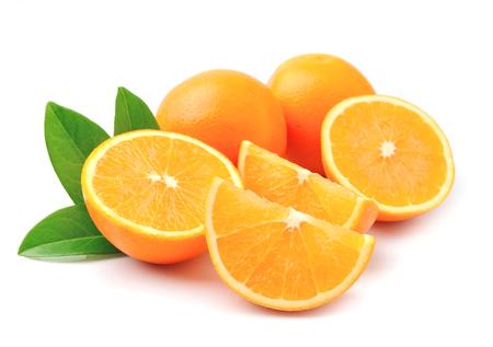 orange fruit: Sweet orange fruit with leaves on white Stock Photo