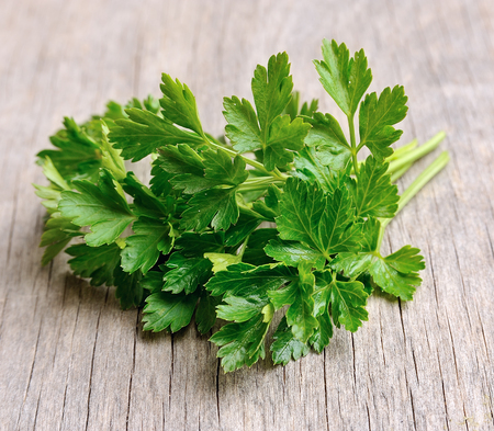 Parsley herbs close up on wooden texture 스톡 콘텐츠