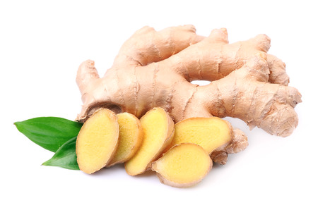 roots: Ginger root in isolated white background