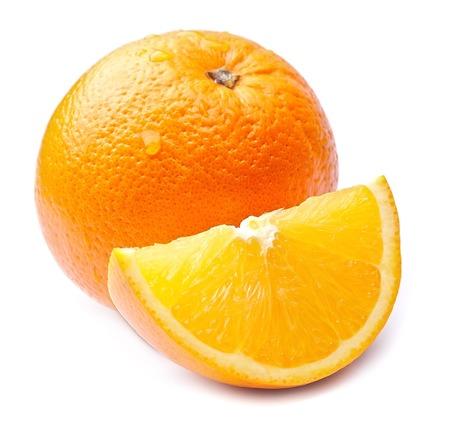 citrus: Sweet orange fruit isolated on white