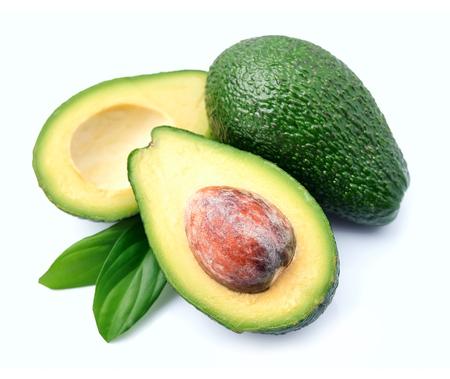 halved  half: Ripe avocado on a white background Stock Photo