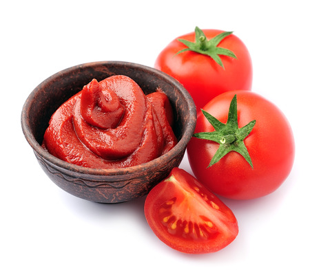 Tomato paste with tomatoes vegetables isolated on white. Tomatoes sauce Banco de Imagens