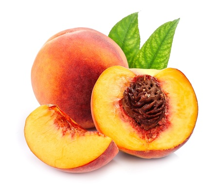 Sweet peaches with slice isolated on white backgrounds Stock Photo