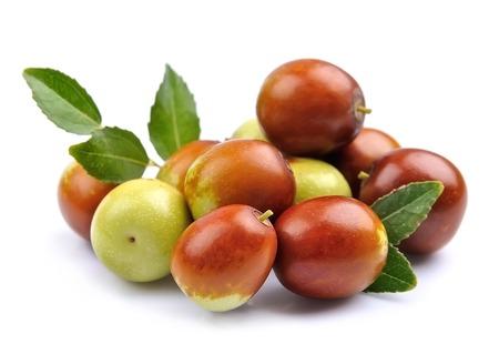 De jujubevruchten sluiten omhoog op wit. Unabi.