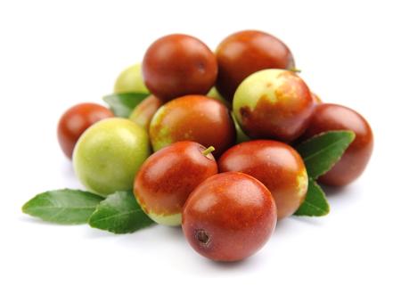 jujube fruits: Jujube fruits close up on white. Unabi.