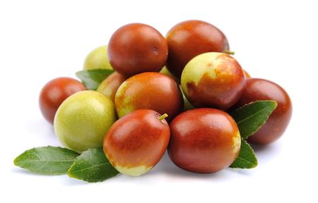 Jujube fruits close up on white. Unabi.