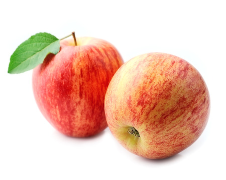 Ripe apples on white backgrounds. Stock Photo