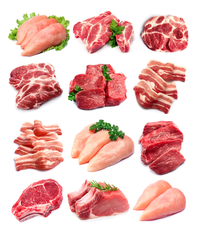 Set of meat closeup on white backrounds.