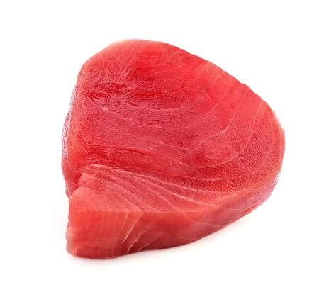 Crude tuna fish isolated on white backgrounds.