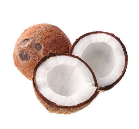 Two piece of coconut isolated on white backgrounds.