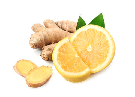 Ginger root with lemon on white backgrounds, Healthy food ingredient, Byproduct Beauty.