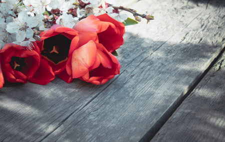 A bouquet of red tulips and white flowers on a background of wooden, old boards. Place for text. The concept of spring has come. View from above. Banner March 8, Easter Stockfoto