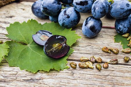 Grapes and grape seeds on a green leaf on old wooden boards. Blue grape. Spa, bio, eco products concept.