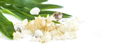 Spa banner cosmetic treatment concept. Sea resort salt, yellow salt and green leaves on a white background. Copyspase flatlay Stok Fotoğraf