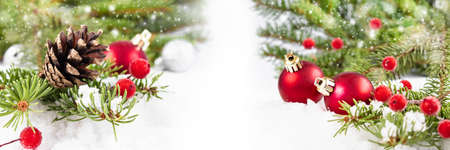 New Year card banner with Christmas decorations on a white background with place for text. Christmas composition 版權商用圖片