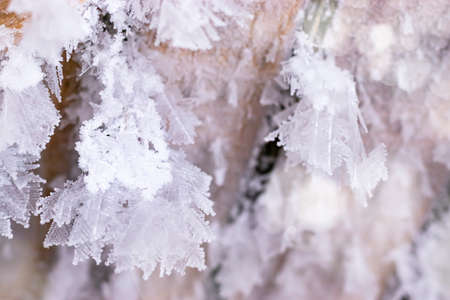 Winter background with crystals snowflakes frozen patterns and snow on frozen boards. Icicles with snowflakes Banque d'images