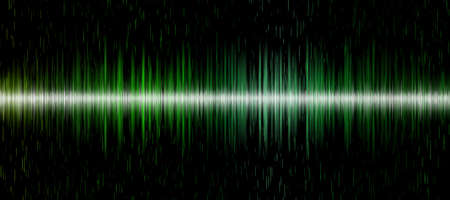 Green sound wave background on black background for music, technology and sound projects