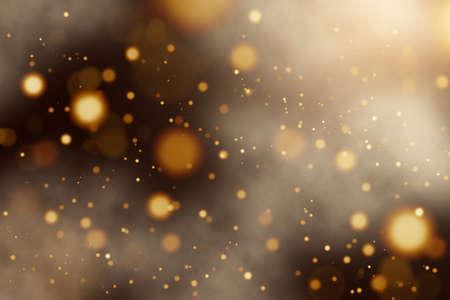 Defocused golden yellow lights or bokeh on black background. Holiday background Banque d'images