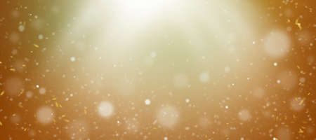 Dusty background, sun rays and bokeh on a yellow background. Illustration.