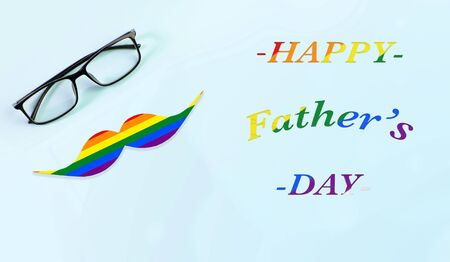 glasses and mustache on a delicate blue background. gift card for fathers day.