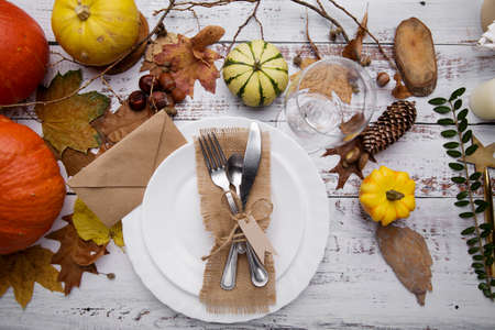 Thanksgiving dinner . Autumn composition on wooden background 免版税图像