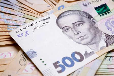 Close-up of Ukrainian hryvna money.500 hryvnia High quality photo