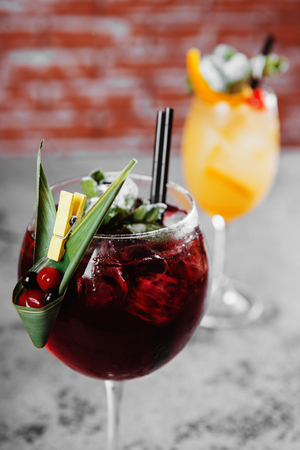 Red and white wine sangria with ice.