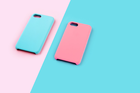 Blue and pink pastel color of phone case Imagens