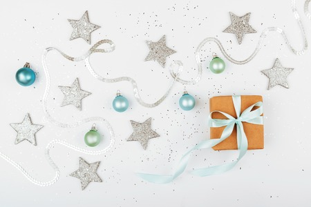 Christmas gift box on white background.