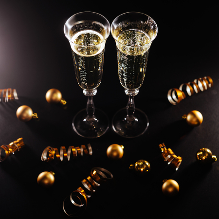 New years eve celebration with champagne Stockfoto