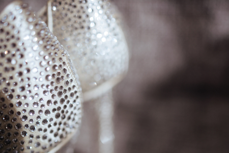 silver and white bokeh lights defocused. Imagens