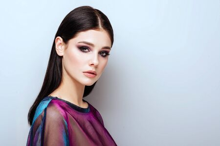 Spring girl with trendy make up smoky eyes . 免版税图像