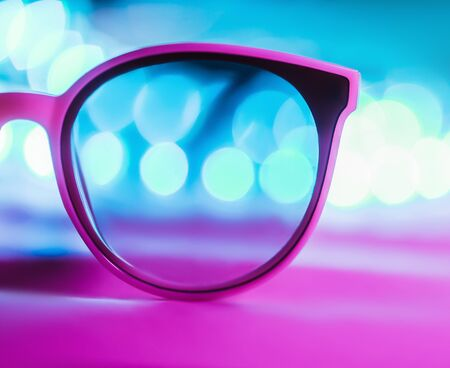 Isolated sunglasses with colorful reflections
