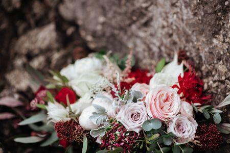 Wedding bouquet on stones 写真素材