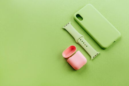 Up to date technology.Top view of diverse personal accessory Stock fotó