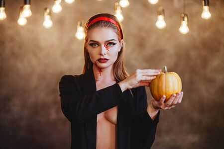 Beautiful Halloween Vampire Woman portrait.