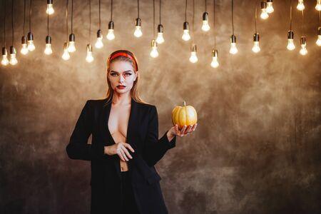 Halloween portrait of young beautiful girl