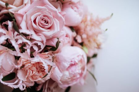 Fluffy pink peonies flowers background copy space Banco de Imagens - 137891778