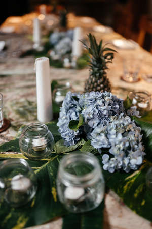 Table decor with hydrangea flowers table numbers and candles