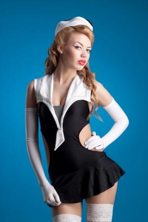 beautiful flight attendant in pin up style photo
